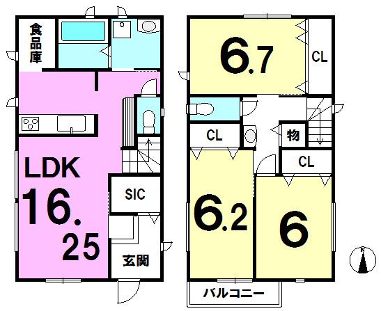 【間取り】 全居室6帖以上、全居室収納有り、食品庫・シューズインクローゼット有り