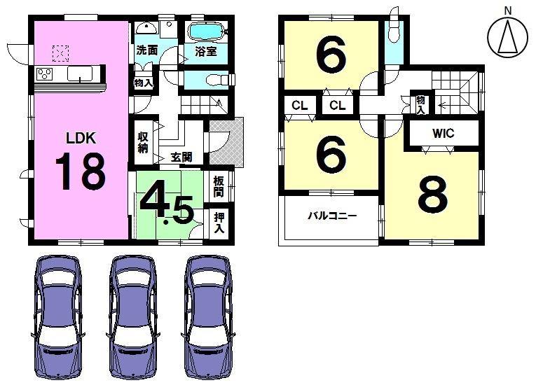 【間取り】 土地面積51.4坪、南東角地で駐車3台可能の ゆとりある物件です。 南向きの明るいLDKは広々18帖♪ 全居室に収納も完備しています。