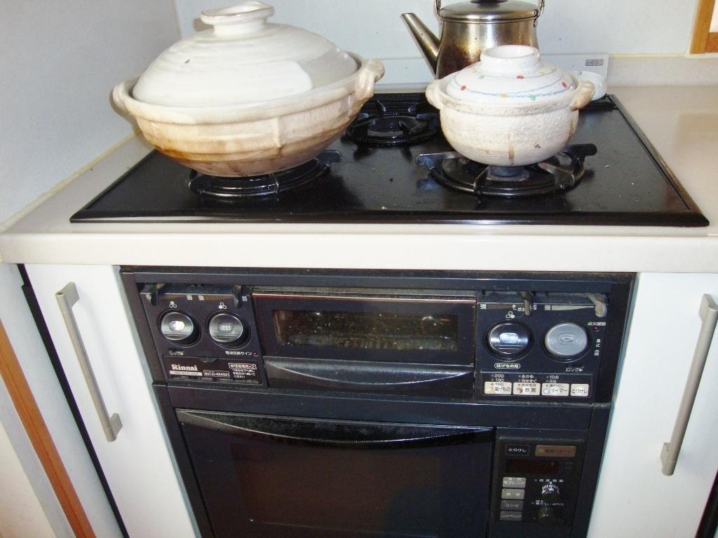 オーブン付のガスコンロ