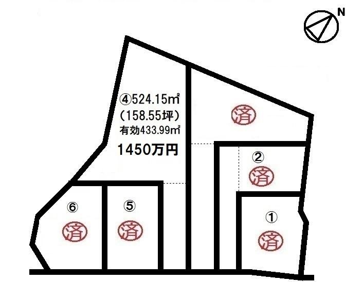 【区画図】 全6区画・現況更地