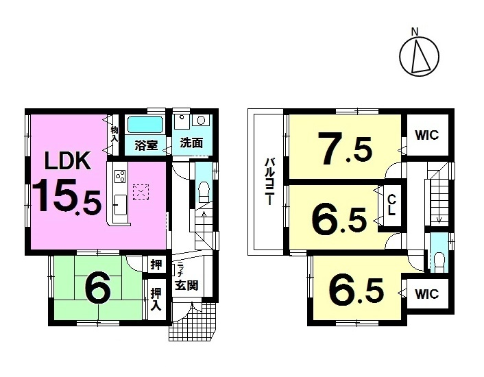 【間取り】 全2区画・JR南草津駅まで徒歩18分・オール電化・フラット35S適合・駐車2台可・全居室収納