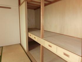 6帖和室の押入れも容量たっぷり。 一間半以上ありますね。