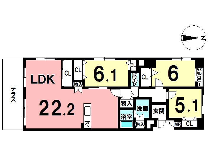 【間取り】 リビングの広い3LDKです。22畳もあるので、日々がのびのびと過ごせそうですね!