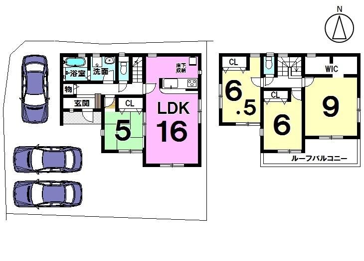 【間取り】 全居室が南向き! 駐車スペース3台分あります。