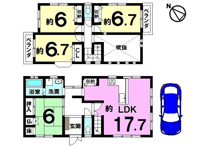 【間取り】 全居室6帖以上、収納スペースもたっぷりです。 吹き抜けのあるLDKは必見!! お気軽にお問合せ下さい。