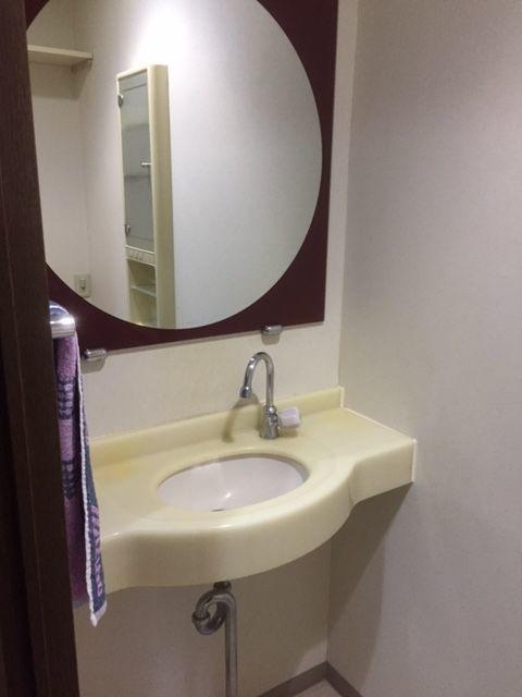 トイレ内に大型の手洗いを設置。