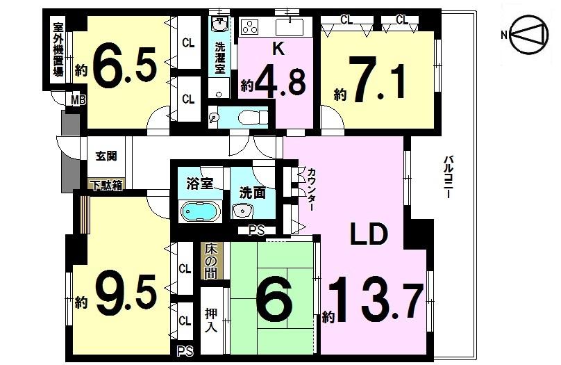 【間取り】 専有面積100㎡以上!! 南東角部屋の4LDKです。 即入居可能。