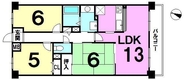 【間取り】 LDK13帖以上、カウンターキッチン付!南向きのバルコニーにつき陽当り良好です♪