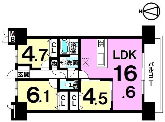 【間取り】 間取り図 3LDK 平成29年5月リフォーム済(クロス貼替、ハウスクリーニング)です! 平成21年築のマンションで綺麗に使われています