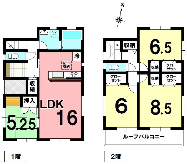 【間取り】 栗橋東5丁目の新築住宅です。カースペース2台可(車種による)ルーフバルコニーです。