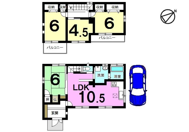 【間取り】 平成19年完成、セキスイハイム施工のお家です。 人気のオール電化住宅。即入居可能です。 お支払いは月々4万円台、お家賃並みで購入して頂けます。お好きな日に内覧できます♪