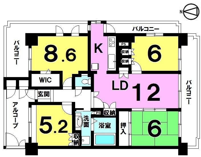 【間取り】 ・4LDK ・3面バルコニー