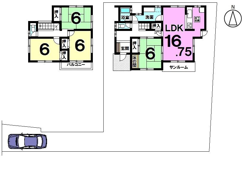 【間取り】 土地面積 68.89坪 建物面積 31.30坪 4LDK  1986年10月築