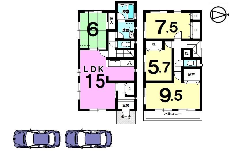 【間取り】 全居室南向き! 収納スペースもたっぷりの ゆとりある間取りです。