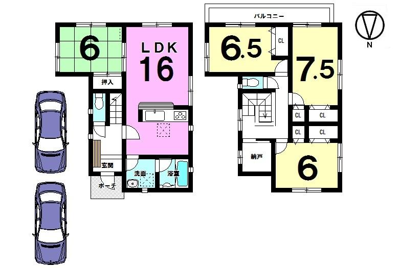 【間取り】 全居室6帖以上、収納スペースも たっぷり確保したゆとりある間取りです。