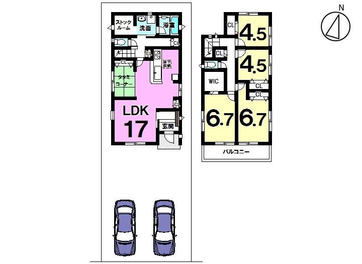 【間取り】 本郷町全3区画 3号棟 土地面積 44.24坪 建物面積 32.34坪