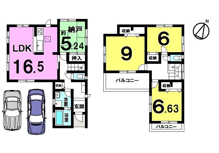 【間取り】 1階リビング横の納戸は和室仕様となっております。 2室に独立したベランダを設けており プライバシーを保てる間取りです。