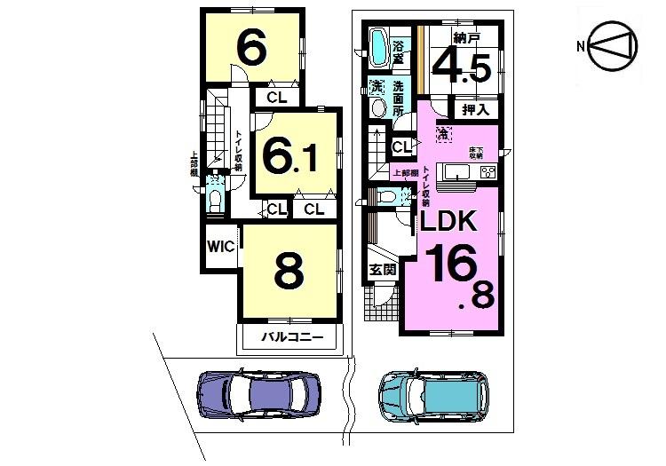 【間取り】 間取り図 4LDK 全居室収納 2190万円