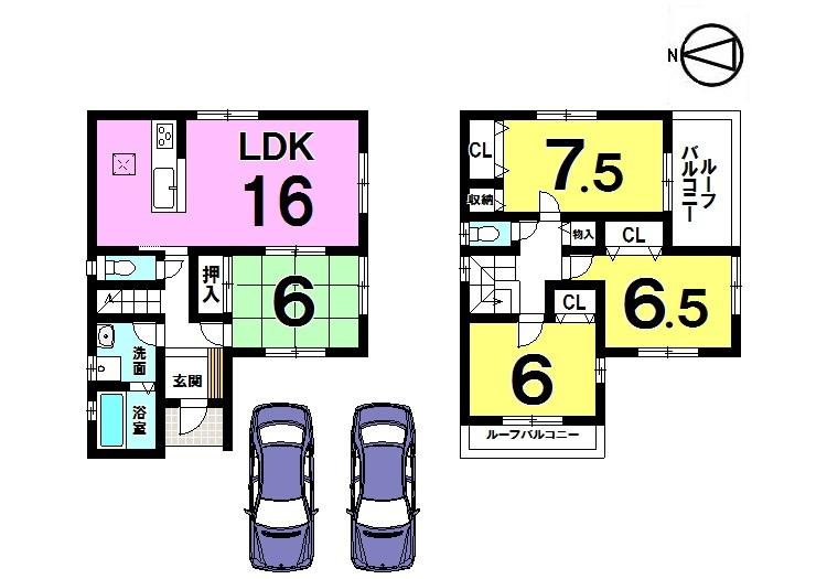 【間取り】 全居室6帖以上。 収納スペースもたっぷり確保しました。 駐車2台可能!角地の物件です。