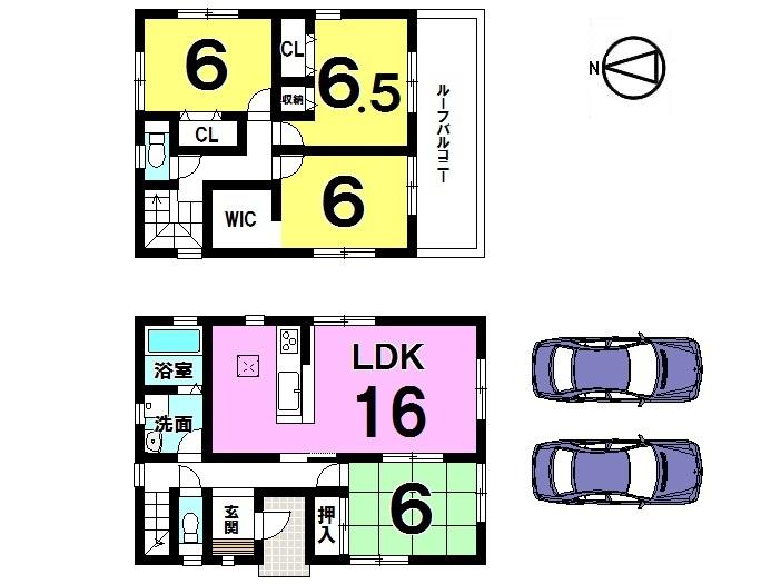 【間取り】 南向きバルコニーの明るい おうちです。 南西角地、駐車2台可能!!