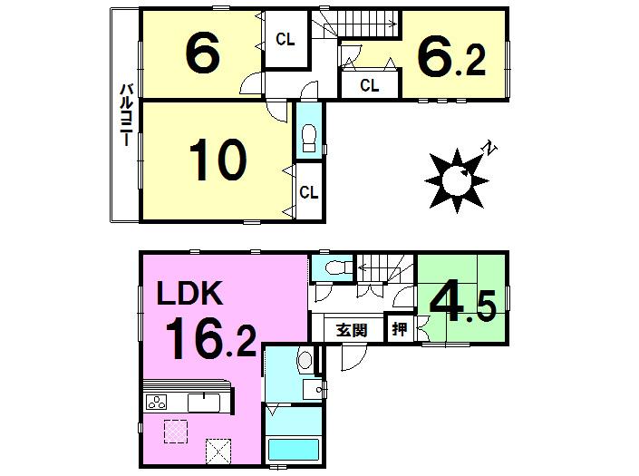 【間取り】 10帖の主寝室、2階各居室6帖以上、LDK15帖超の大型4LDK住宅です!