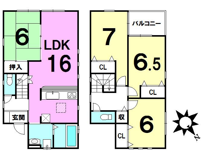 【間取り】 全居室6帖以上、LDK16帖の大型4LDK住宅です!収納豊富な間取り設計です♪