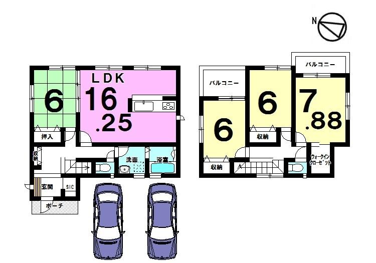 【間取り】 土地面積46.45坪。 並列で駐車2台可能です。