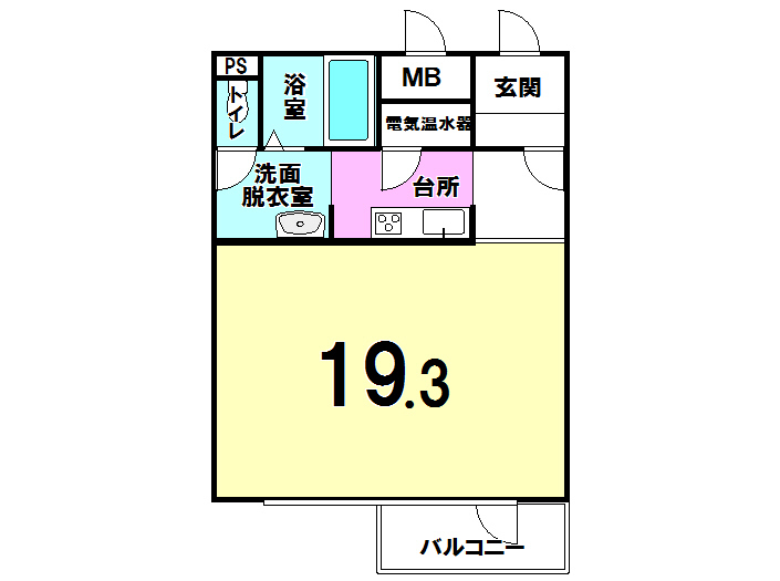 【間取り】 千歳市文京の中古マンションです。 19.3帖の広々ワンルームマンションです。