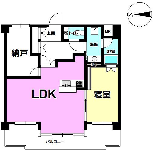 【間取り】 ◎間取り図 2014年1月リノベーション済!4階部分の1SLDKです!室内きれいにお使いです!