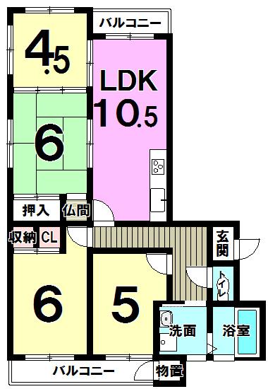 【間取り】 日当たり良好な角部屋の4LDK。 玄関は電子ロックキー、★小倉南区沼南町1丁目中古マンション♪4LDK♪