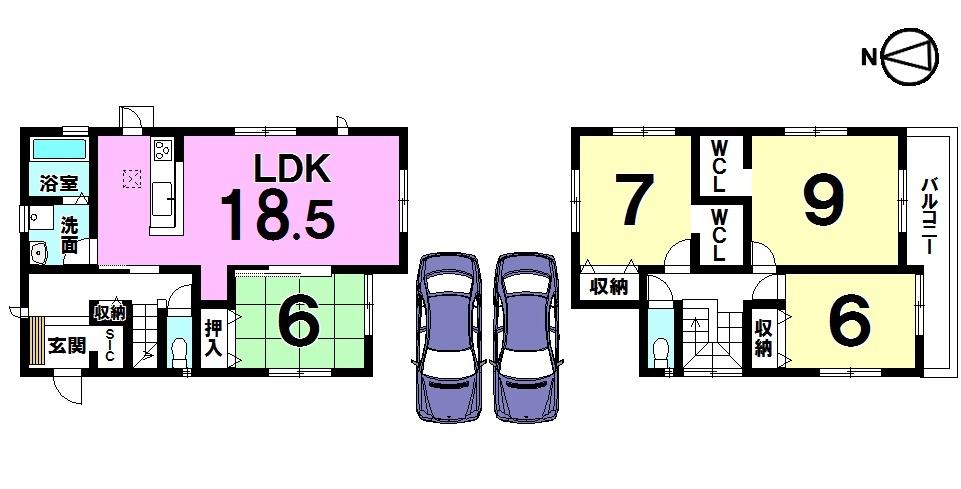 【間取り】 南西角地、敷地面積56坪の物件です。 全居室6帖以上のゆとりある間取り。 18.5帖の広々LDKは必見です。