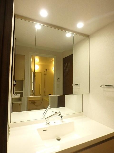 大きな鏡の洗面台は毎日の身支度が楽しくなります。