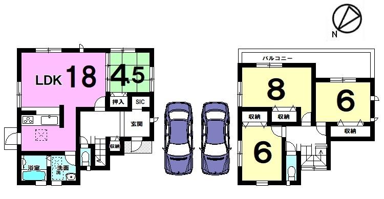 【間取り】 1階はLDKプラス和室で22.5帖の ゆとりある間取りです。 お気軽にお問合せ下さい。