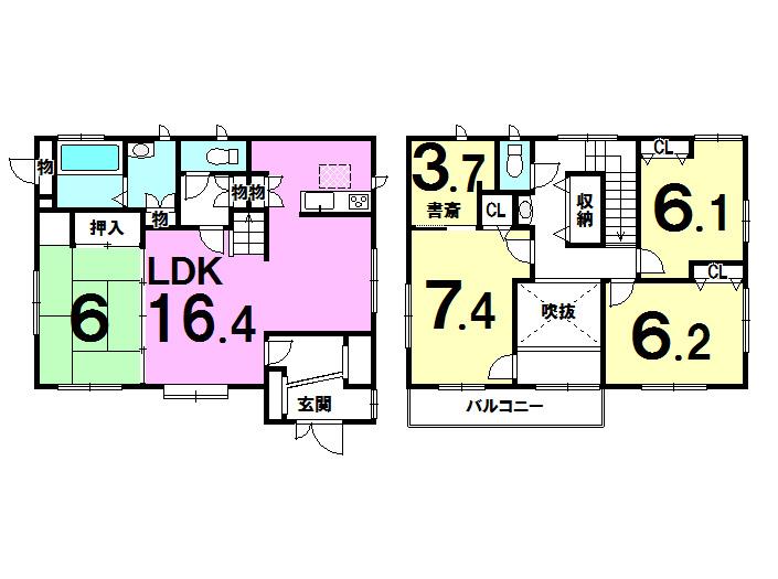 【間取り】 2階洗面付き、吹抜けのあるリビング、全居室6帖以上の注文設計住宅です♪