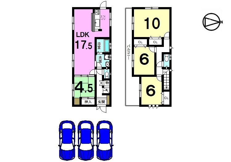 【間取り】 土地面積:59.12坪。 全居室南向き、駐車3台可能です。 モデルルームもございますので お気軽にお問合せ下さい。
