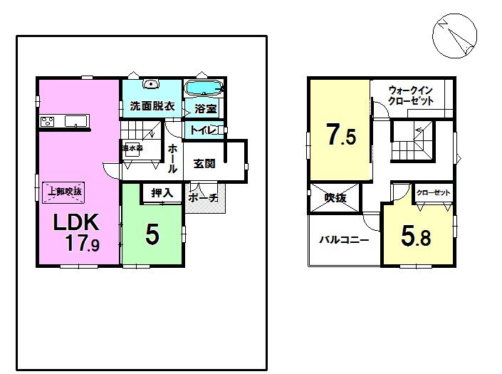 【間取り】 千歳市みどり台北の中古戸建です。17.9帖のゆとりあるLDK、上部一部吹抜け、7.5帖の主寝室にはウォークインクローゼット、2階ホールからはルーフバルコニーに移動可能です。