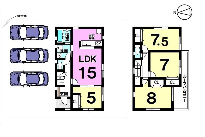 【間取り】 港町全3区画 1号棟 土地面積 55.6坪 建物面積 29.49坪