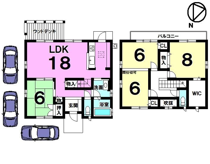 【間取り】 土地約60.43坪・4LDK・オール電化、太陽光発電付き住宅です。