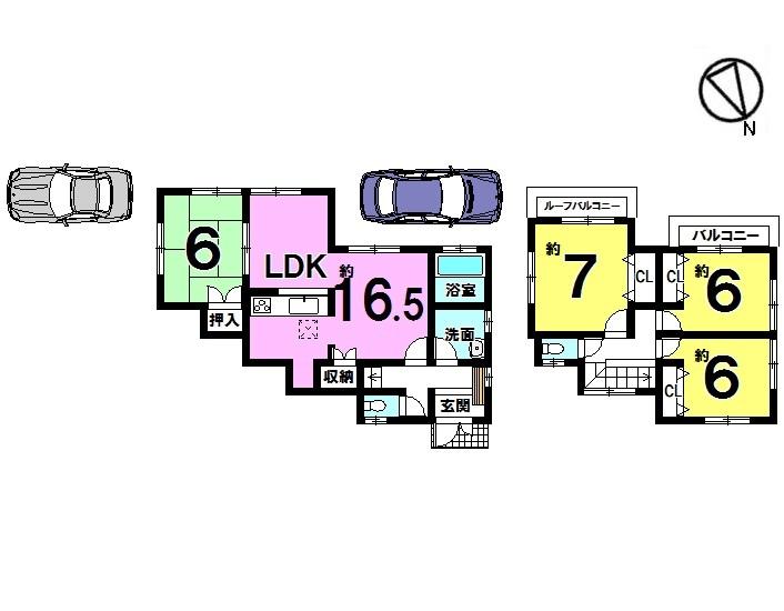【間取り】 29年8月ガスコンロ部品、シャワーホース・ヘッド、浴室鏡/和室(畳表替、障子貼替)/CF貼替(洗面、トイレ)/全室クロス貼替え等リフォーム済みです!