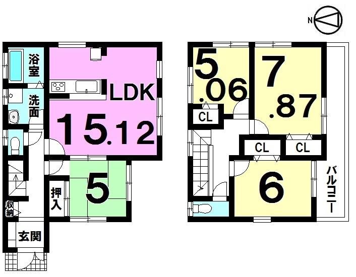 【間取り】 ・4LDK ・全居室収納付 ・駐車3台可能 ・設計住宅性能評価書取得済
