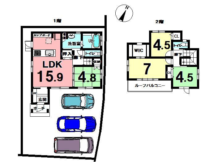 【間取り】 東側道路に面し、駐車場3台まで駐車可能。