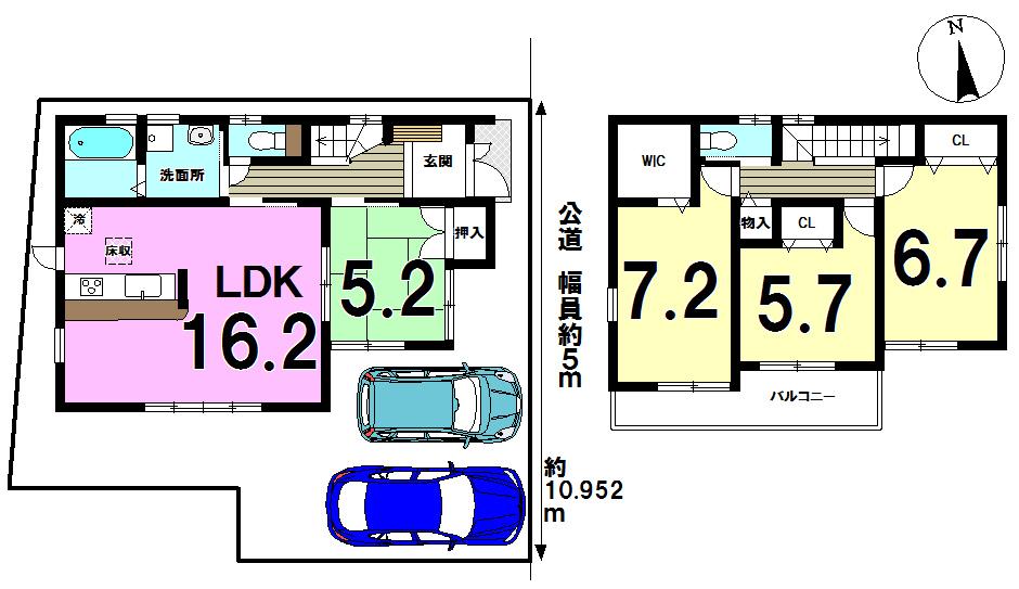 【間取り】 1号棟◆土地面積:115.57㎡◆建物面積:98.42㎡(29.77坪)