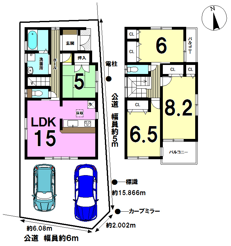 【間取り】 2号棟◆土地面積:106.97㎡◆建物面積:98.02㎡(29.65坪)