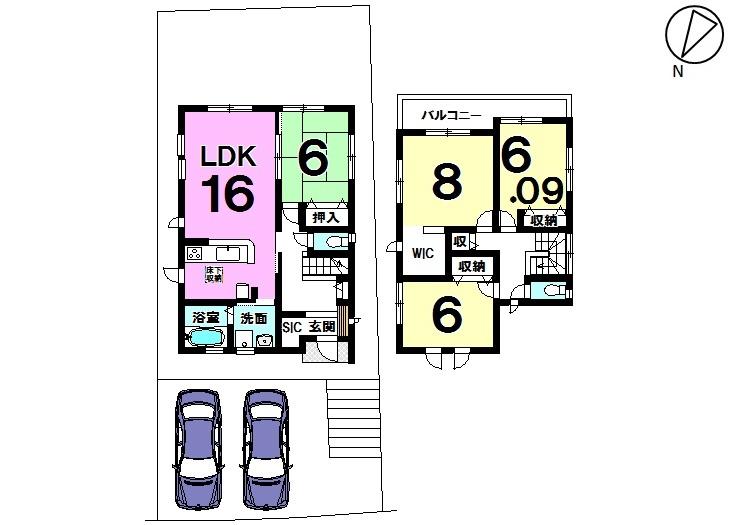 【間取り】 飛香台 新築戸建て 4LDK 駐車スペース2台分 土地面積 56.57坪 建物面積 31.93坪
