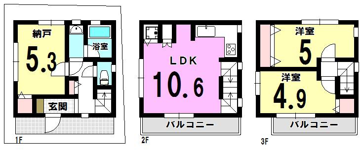 【間取り】 江戸川区北小岩5丁目の新築戸建物件です。
