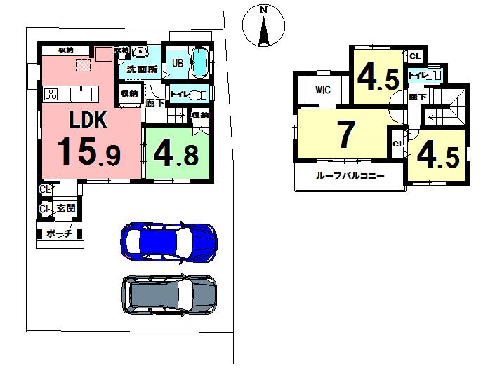 【間取り】 駐車場2台完備!