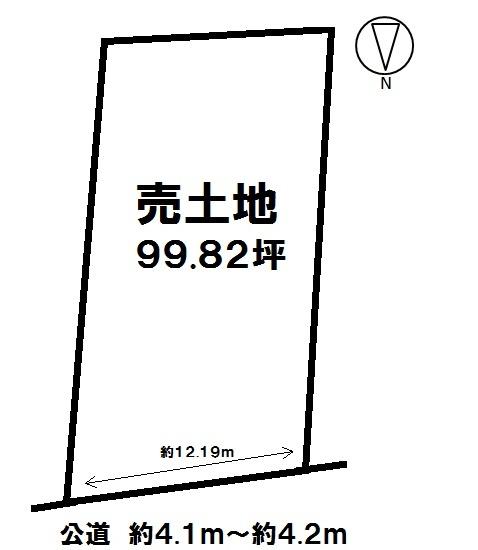 【区画図】 土地面積 99.82坪 最適用途 資材置場用地  調整区域
