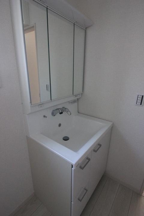 洗面台・シャンプードレッサー 一面鏡750サイズ 洗髪もできるシャンプードレッサー リナージュ同仕様写真