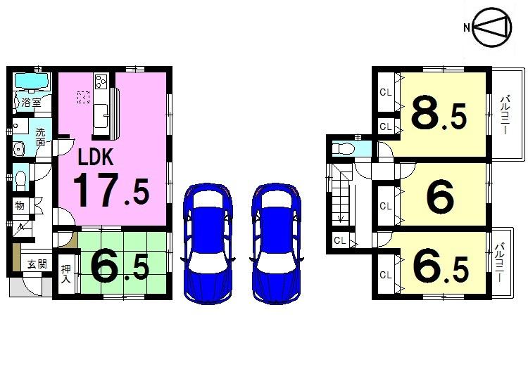 【間取り】 全居室南向き、並列で駐車2台可能です。 モデルルームもございますので お気軽にお問合せ下さい。
