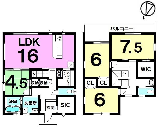 【間取り】 間取り図 4LDK 3280万円 注文住宅のようなおしゃれな外観で収納力のある物件です!